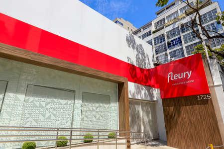 Sao Paulo, Brazil - feb 16 2020, Lettering and logo of Fleury Medicina e Saúde diagnosis laboratories on its facade
