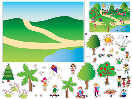 Game for children: cut and paste the objects and people in the background