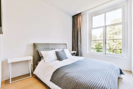 Photo pour Comfortable bed and soft carpet in spacious bedroom with interior in minimal style - image libre de droit
