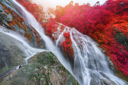 Pi Tu Gro waterfall is often called the Heart shaped waterfalls Umphang ,Thailand.