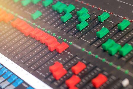 Photo pour equipment for sound mixer control, electornic device. - image libre de droit