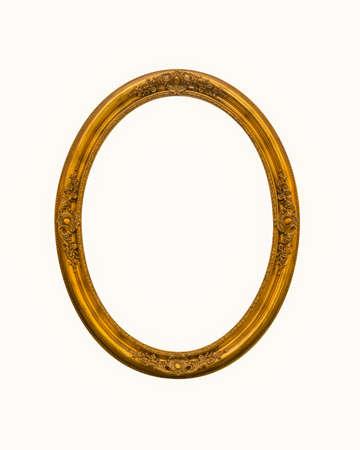 Photo pour vintage gold oval frames or photo frame elegant isolated on white background. - image libre de droit