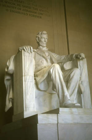 Seated sculpture of Abraham Lincoln,		Lincoln Memorial,	Washington DC
