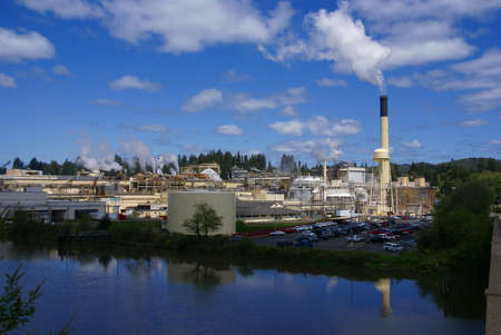 Pulp and paper mill along river,  Toledo,  Oregon Coast
