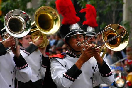 Horn players,  marching band in white and black uniforms,Calgary Stampede ParadeCalgaryAlberta