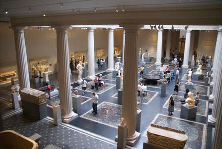NEW YORK 24 JULY 2008 -  Art students looking for inspiration in the  Roman & Greek galleries, Metropolitan Museum of Art, New York