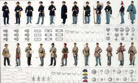 Uniforms and badges of Union and Confederate cavalry officers and men  from Atlas to Accompany the Official Records of the Union & Confederate Armies, 1861 - 1865