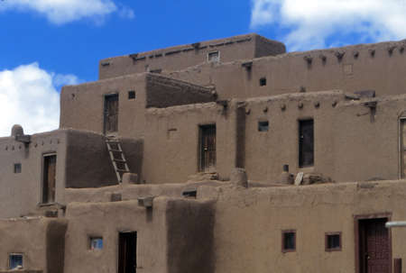 Traditional pueblo village buildings, Taos, New Mexico