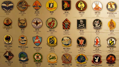 SAN DIEGO, CALIFORNIA - DEC 1, 2017 - Flight Squadron patches of the USS Midway CV-41 Aircraft Carrier, San Diego, California