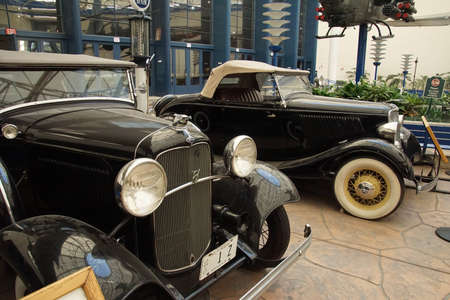 SAN DIEGO, CALIFORNIA - NOV 27, 2017 - Antique Ford Phaeton and V8 roadster,Air and Space Museum at Balboa Park in San Diego, California