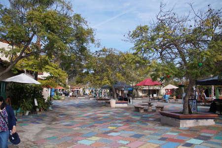 SAN DIEGO, CALIFORNIA - NOV 28, 2017 - Multi-colored paving in artist's community of Balboa Park, San Diego, California
