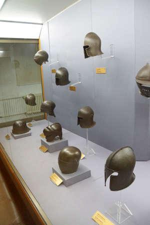 ISTANBUL, TURKEY - MAY 16, 2014 - German armor, helmet from 16th century,  , Askeri Museum, Istanbul,  in Istanbul, Turkey