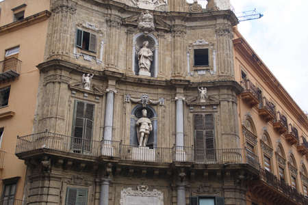 Quattro Canti , the Four Corners square in the heart of Palermo, Sicily, Italy