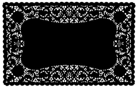 Vintage Pattern Black Lace Doily Placemat for setting table, holidays, celebrations, cake decorating, scrapbooks, arts, crafts, copy space.