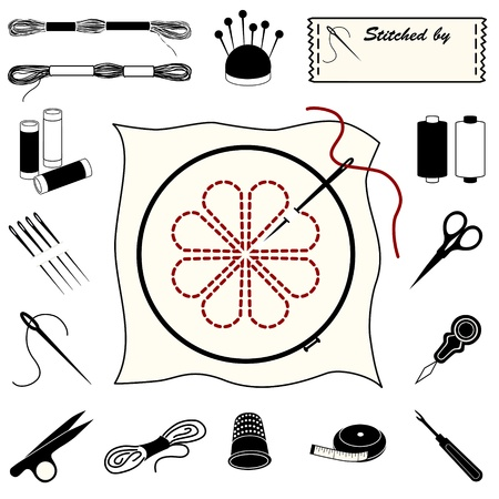 Needlework Icons for embroidery, needlework, applique, bargello, brocade, crewel, cross stitch, needlepoint, stitchery and tapestry.