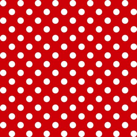 Seamless Pattern, Big White Polka dots on Red.