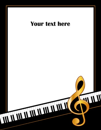 Music Entertainment Event Poster Frame, piano keyboard, golden treble clef, vertical.