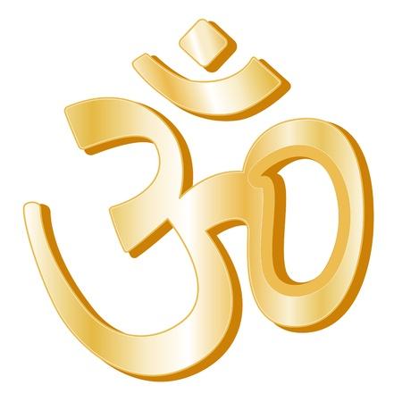 Ilustración de Hinduism Symbol. Golden symbol of Hindu faith, white background.  - Imagen libre de derechos