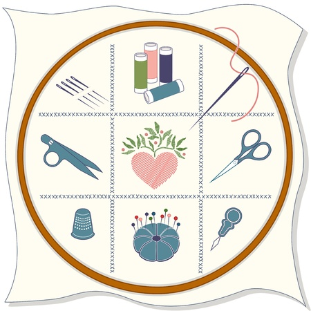 Embroidery Icons: wood hoop, fabric, cross stitch, sewing needles, spools of threads, thread clips, stitched heart, embroidery scissors, thimble, pins, pincushion, needle threader.