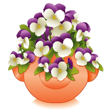 Illustration for Johnny Jump Up Flowers (Pansies) in Clay Strawberry Jar Planter - Royalty Free Image