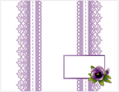 Illustration for Vintage Lace, Victorian style, pastel lavender, Pansy flower,  Gift card with copy space for birthdays, anniversaries, Mother s Day, weddings, showers, celebrations   - Royalty Free Image