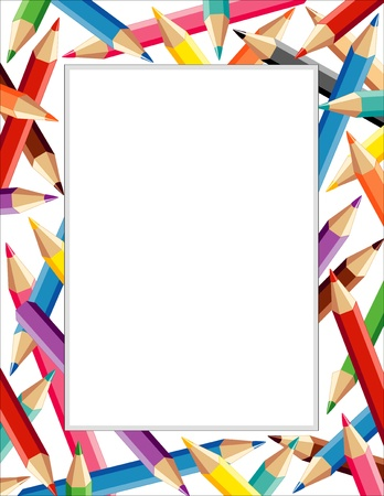 Photo for Colored Pencil Frame with copy space - Royalty Free Image