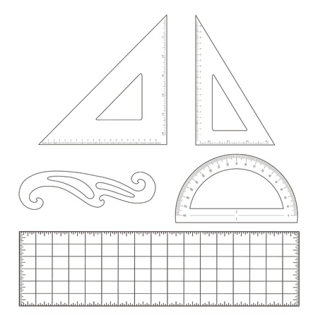 Drafting Tools for architecture and engineering  45 degree triangle, 60 degree triangle, ruler, French Curve, protractor