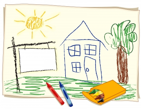 Blank Real Estate Sign, child s crayon drawing, house in sunny landscape