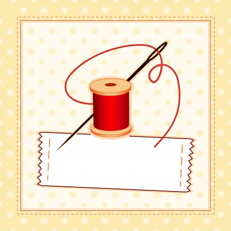 Illustration pour Sewing Label, Needle and Thread, stitched pattern frame with copy space to add your name - image libre de droit
