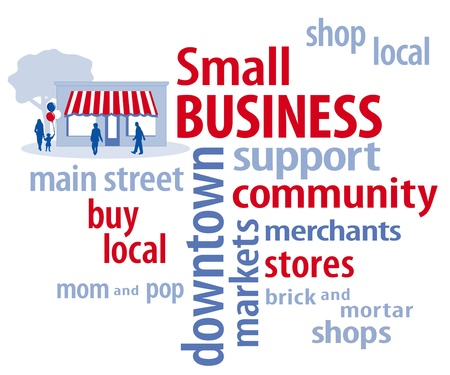 Small Business Word Cloud with customers and main street store in red, white and blue