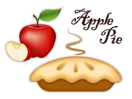 Illustration pour Apple Pie, ripe fruit, slice; Fresh baked sweet dessert treat; Isolated on white background   - image libre de droit