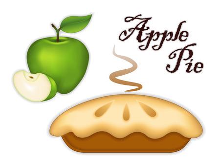 Illustration pour Granny Smith Green Apple Pie, isolated on white background  Sweet, tart dessert treat  - image libre de droit