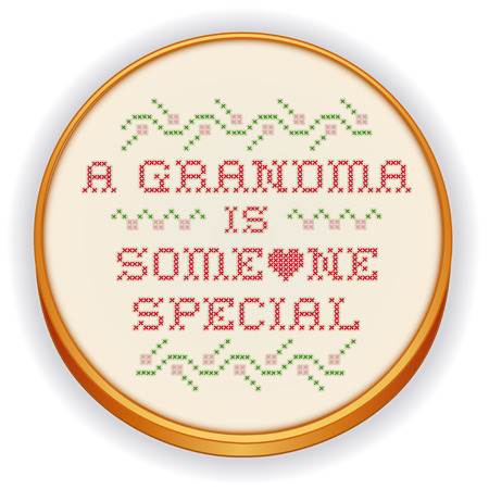 Embroidery, Grandma is Someone Special, cross stitch needlework design on retro wood hoop
