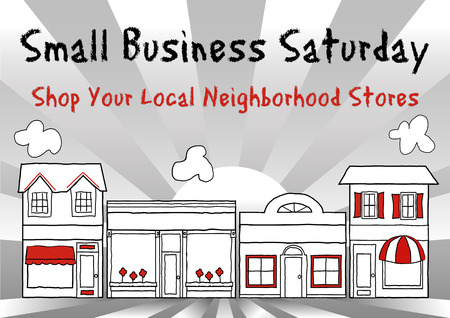Foto de Small Business Saturday USA encourages shopping at small, local, main street stores and shops, ray background. - Imagen libre de derechos