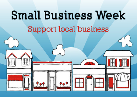 Small Business Week, Main Street USA celebrates American small business owners and entrepreneurs, blue ray background.