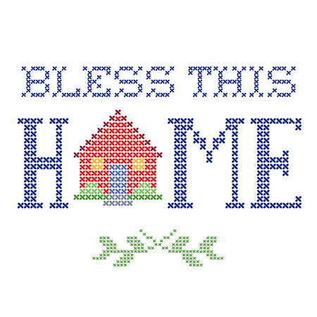 Bless This Home retro cross stitch embroidery design, needlework house isolated on white background.