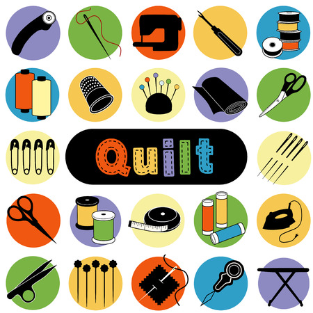 Illustration for Quilt and Patchwork tools and supplies for sewing, applique, trapunto, textile arts and crafts. - Royalty Free Image