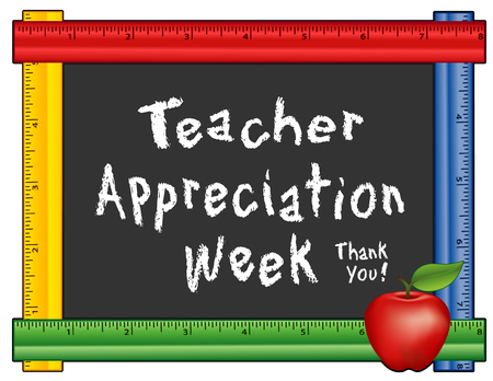 Teacher Appreciation Week, annual American holiday the 1st week of May, red apple, thank you chalk text on blackboard with multi color ruler frame for class room and school events. Isolated on white background.