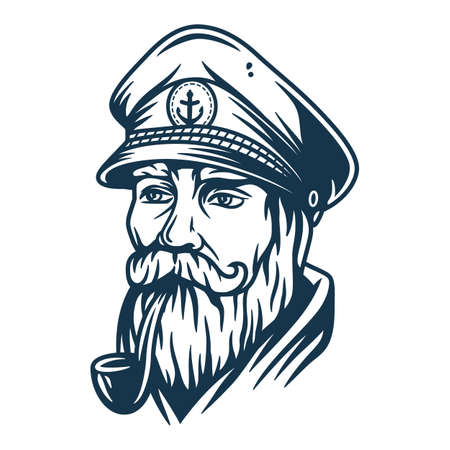 Illustration for Bearded ship sailor with captain cap and a pipe - Royalty Free Image