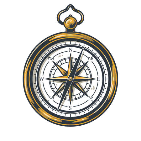 Illustration for Colored element of a compass for camping or travel - Royalty Free Image