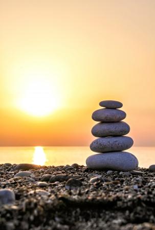 Zen-like stone pyramid on th