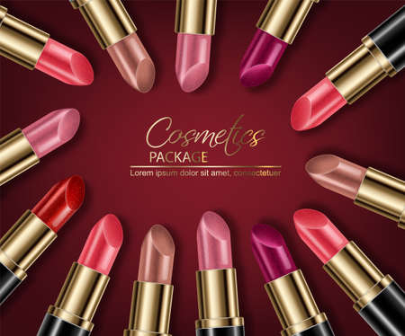 Illustration pour Lipstick sets mock up Vector realistic. 3D illustration advertising poster promoting makeup premium products. Package design. Color samples - image libre de droit