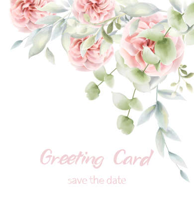 Illustration pour Pink roses floral card Vector watercolor. Provence rustic poster. Birthday invitation, ceremony event greeting decors - image libre de droit