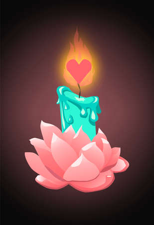 Illustration for Turquoise candle in rose flower holder with heart shaped wick - Royalty Free Image