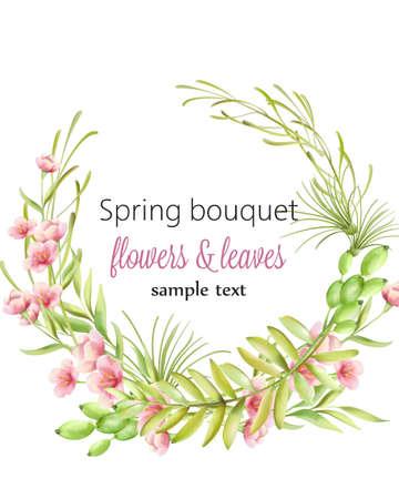 Illustration pour Spring bouquet wreath of cherry blossom flowers with green leaves - image libre de droit