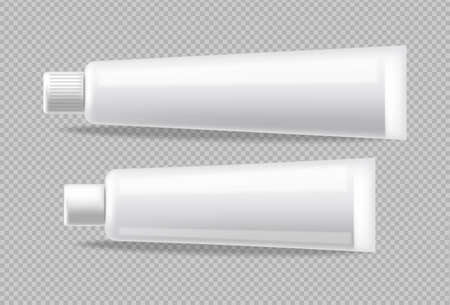 Illustration pour White tubes Vector realistic isolated. Advertise empty container. Cosmetics, Medicine or tooth paste 3d detailed illustration - image libre de droit