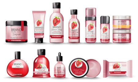 Illustration for Set of cosmetic with strawberry. Body milk, hand cream, shower gel, perfume, soap, mask and spray - Royalty Free Image