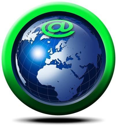 3D globe symbol and Internet @