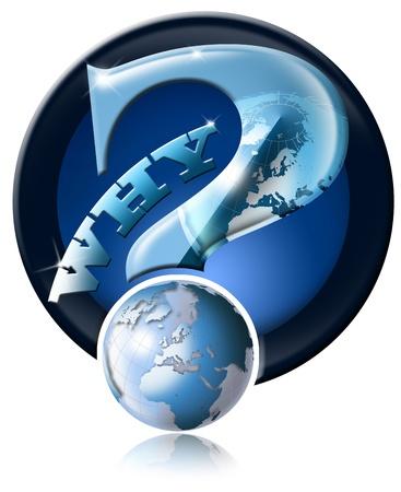 Photo pour Blue question mark icon with globe and reflection - image libre de droit