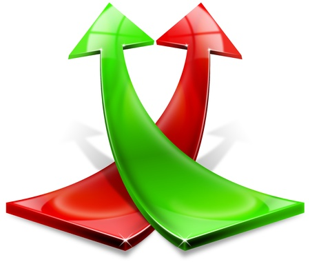 Photo pour Arrow red and green curved upwards, the concept of economic success and business - image libre de droit